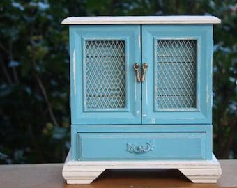 Shabby Vintage Jewelry Box, Shabby Home Decor, Cottage Decor, Distressed Jewelry Box, Wedding Decor