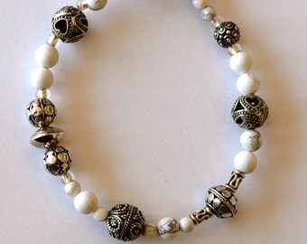 Sterling Silver and White Howlite Bracelet