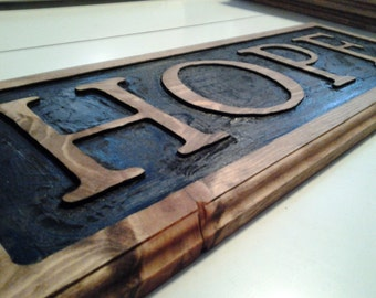 "Handmade wooden ""HOPE"" sign"