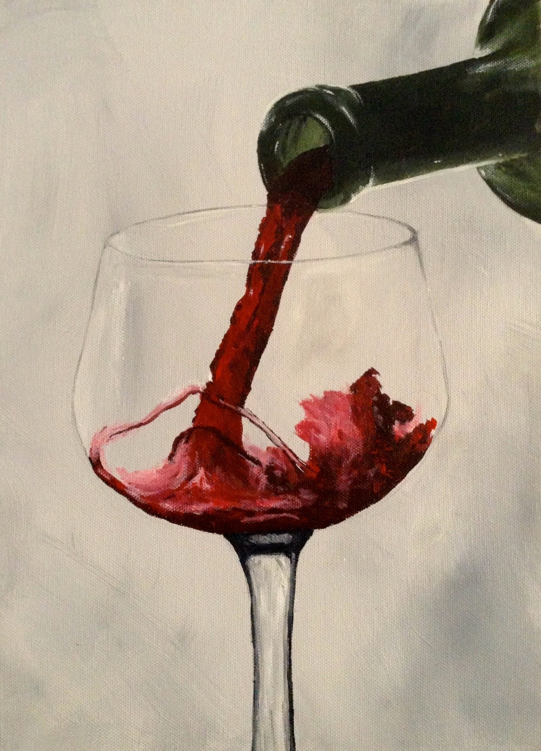 Red wine painting acrylic on canvas wine pouring into for How to paint a wine glass with acrylics