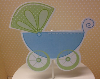 Pink or Blue Baby Shower Carriage Cake Topper Decoration
