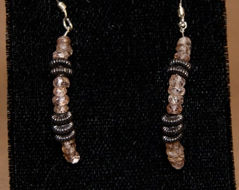 Brown Zircon and Pewter Curved Drop Earrings