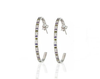 Colored Stone Hoops