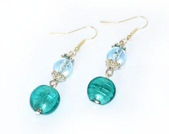 Aqua Earrings, teal earrings, dangle, fashion earrings, fashion accessory