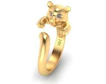 Bear 14k gold ring