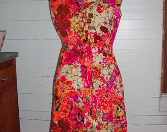 Vintage 1960s  dress, cotton, abstract floral, sleeveless, batik