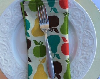 Retro-Inspired Cloth Napkins; Set of 4 Reversible Dinner Napkins; Premium Pattern Cloth Napkins