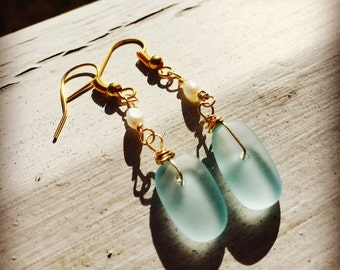 Sea glass and pearl dangle gold plated earrings