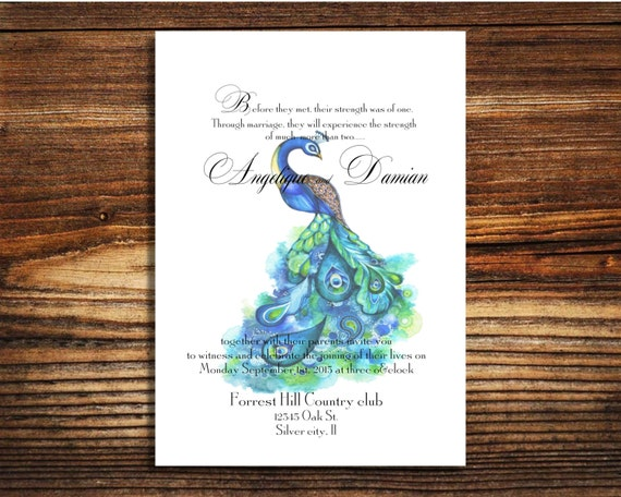 Peacock Wedding Invitations Template: Items Similar To Wedding Invitations, Peacock Wedding