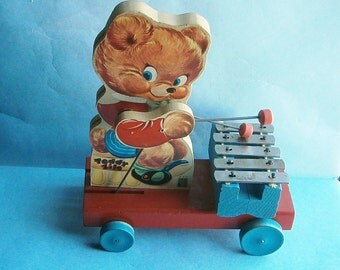 "Fisher Price Toys ""Teddy Zilo"" made in USA, c.1950-54"