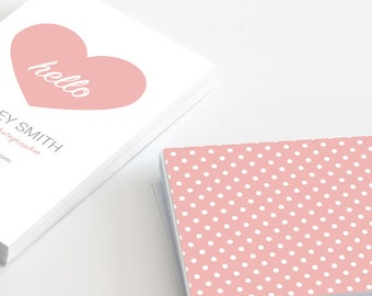 Cute Business Card Heart Love Polka Dots Template for Photographers (digital Photoshop files, pre made, instant download)