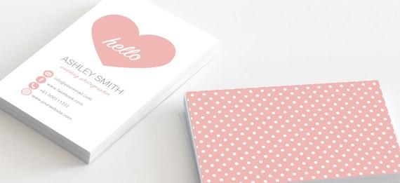 Cute Business Card Heart Love Polka Dots Template For - Cute business cards templates free