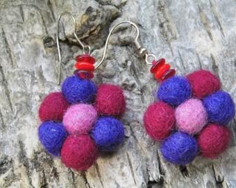 "Earrings ""Lollipop"" made of felt, metal and glass beads"