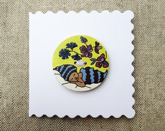 Newborn baby boy greeting card Hand painted button 40mm Congratulations card Fairy tale card Handmade gift for baby boy Spring celebration