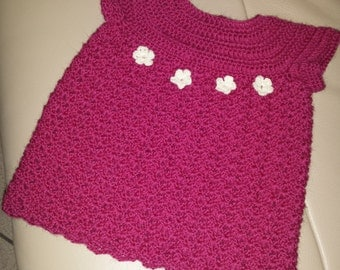 Fuchsia Wool Dress for little girl (6-9 months)