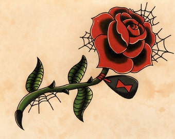 Black Widow Rose Web Tattoo Flash Art- Hand-Stained Print