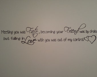Meeting you was Fate, becoming your Friend was by choice, but falling in Love with you was out of my control wall vinyl