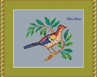 Bird from the old scheme for hand embroidery (restoration) Counted Cross Stitch Pattern / Instant Download Epattern PDF File