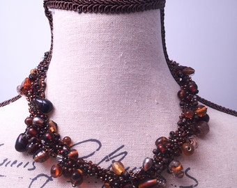 Brown Glass Cluster Bead Necklace