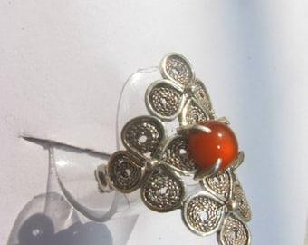 Ring style filigree with carnelian. Beautiful and elegant. Silver. Ukraine.
