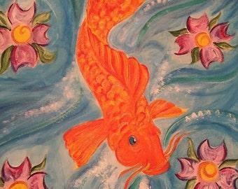 Acrylic Koi Fish Painting