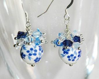 Swarovski crystal and Blue & White Porcelain Earrings