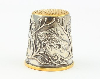 Silver Thimble with Fish