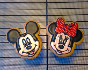 Mickey and Minnie Mouse Decorated Sugar Cookies (One Dozen)