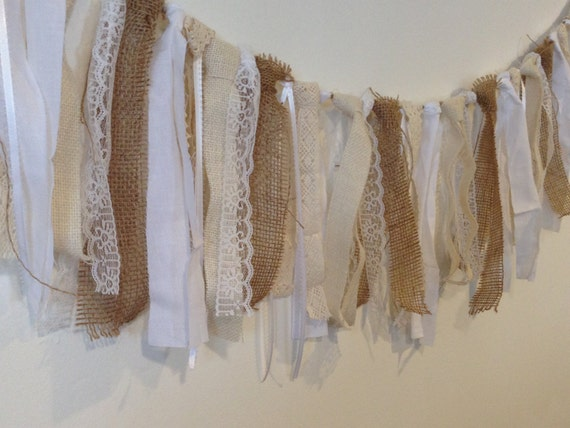 Lace and burlap garland shabby chic garland rustic wedding for Shabby chic garland lights