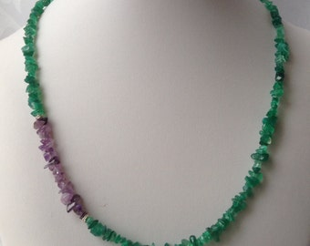 Necklace with green onyx and purple amythest gemstone nuggets.