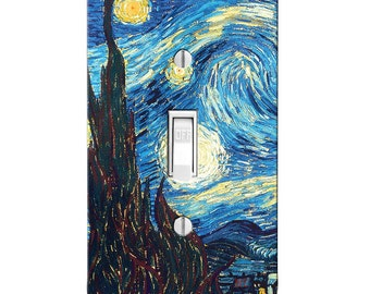 Van Gogh Starry Night Light Switch Cover, Printed, Single Toggle, Rocker, Switch Plates, outlet covers, Bedroom Decor, Bathroom Decor, Gift