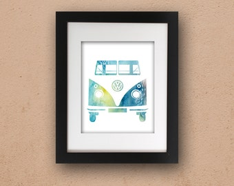 Kombi Van Watercolor 5 x 7 or 8 x 10 PHYSICAL Print Wall Art Modern Poster Simple VW Vintage Camper Poster Volkswagen Watercolour Blue