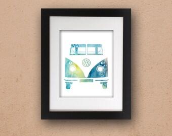 Kombi Van Watercolor PRINTABLE Art VW Vintage Camper Instant Download Digital Poster Print