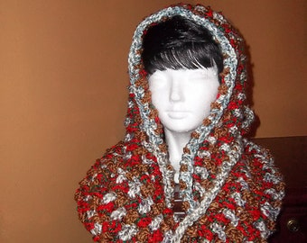 Crochet Infinity Hooded Cowl or Scarf