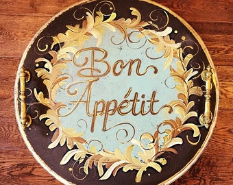 Hand Painted Rustic French Tray