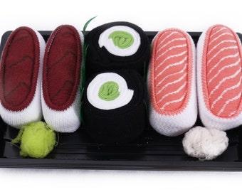Sushi Socks Box 3 pairs Tuna Salmon Cucumber Maki Cool Gift Present Gadget