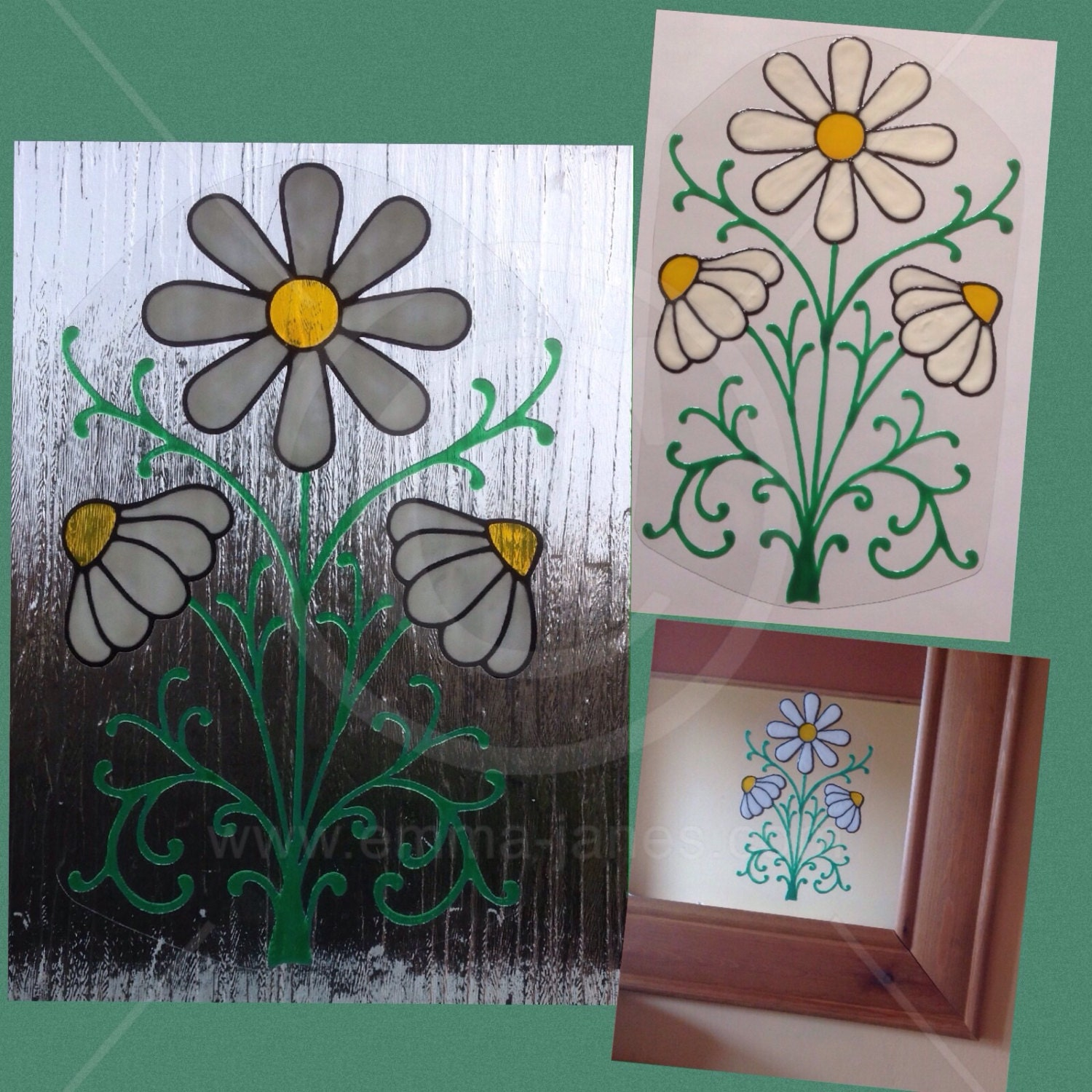 Window Cling Decorations daisy daisies window cling floral hand painted for glass &