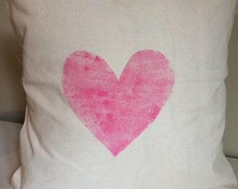 Hand Printed Heart cushion