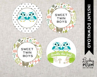 Owl Twin Baby Shower Cupcake Topper / Woodland Cupcake Topper / Forest Animal Cupcake Topper / DIY Printable /  *Digital file*