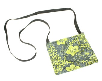 Mini crossbody bag - Batik Blossoms Lime fabric  perfect for travel or a night out!