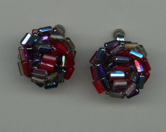 Vendome Beaded Earrings with Wonderful Colors 1950's
