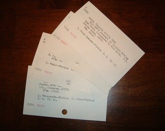 25 Vintage Library Catalog Cards