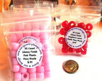 25 Glossy Finish Plastic Pony Beads Choice of Two Colors