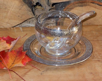 Glass Condiment Bowl Set Silver Overlay Fancy Dishes 1950s Vintage Hostess Gear and Kitchen Ware