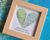 Gay Wedding Gift for Couple Map Heart Framed with Text