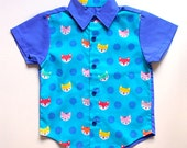 Little Boy Shirt - Arthur Collared Button Shirt (Original Print - Dotty Foxes)