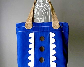 ON SALE - Market Tote Bag - Forest Garden Tote (Blue Ivory)
