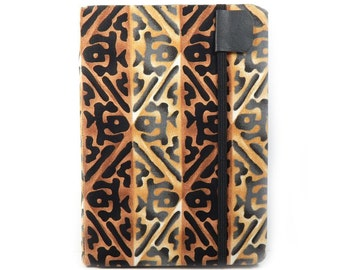 Kindle Paperwhite cover - Tiki Lattice - geometric hardcover eReader case - kindle touch cover - honey and black unisex kindle cover