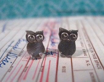 baby hoots - owl stud earrings owl earrings owl studs silver owl earrings