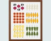 Vegetable Garden Plot (unframed) B+W or Color Kitchen Art Print - 8 x 10 inch